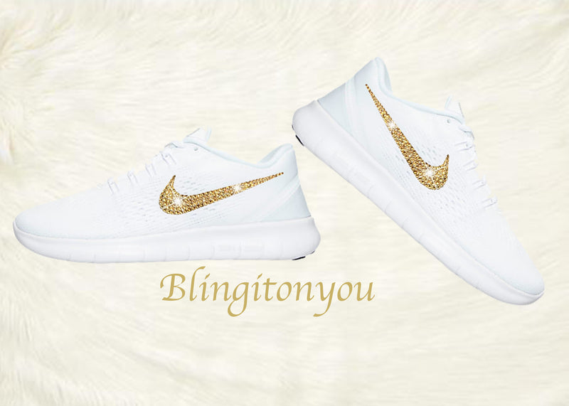 Swarovski Nike Free RN Running Shoes Blinged Out with Gold Swarovski Crystals - Bling Nike Women's Free RN with Gold Swarovski Crystals - Blingitonyou  - 2