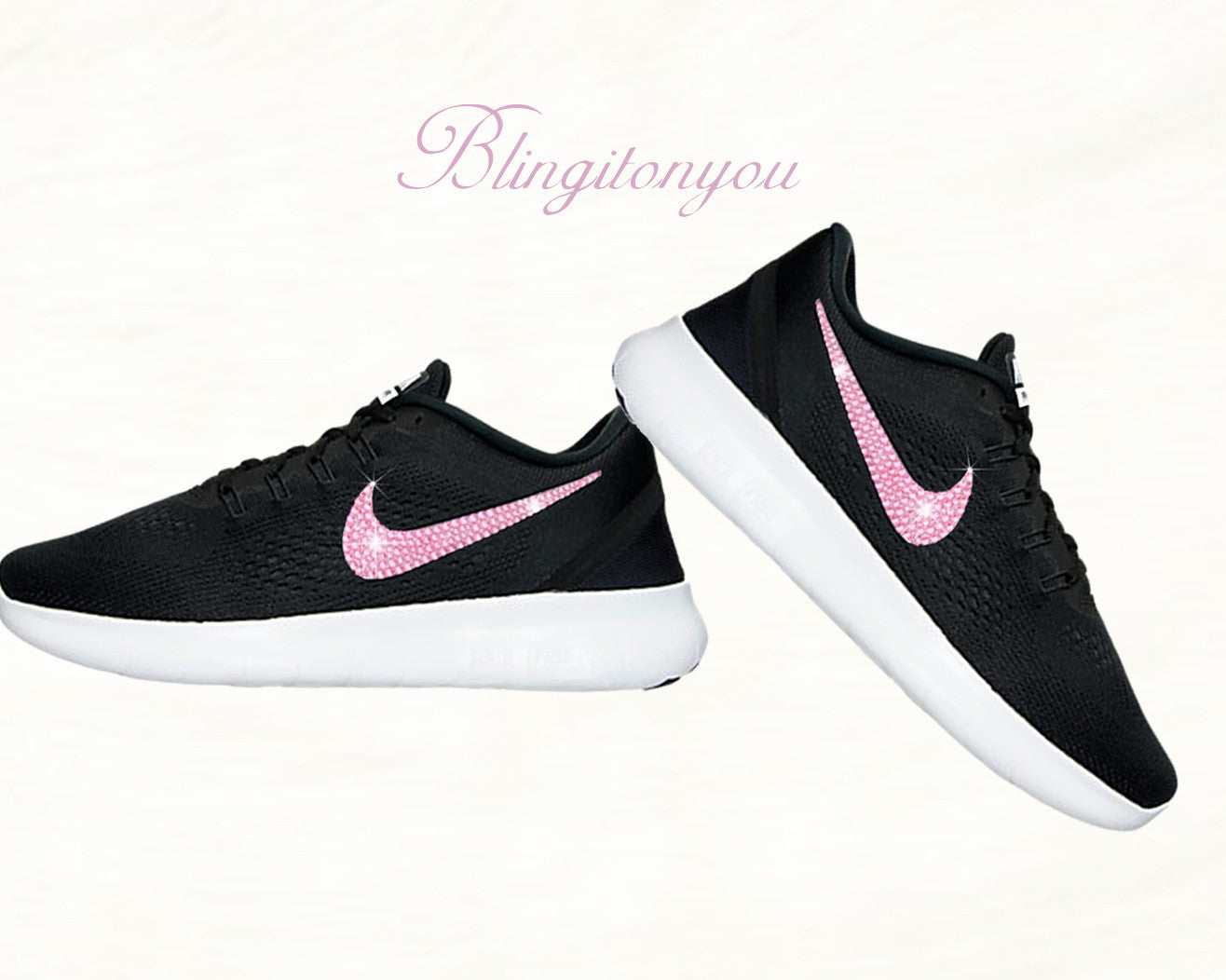 50c27f9b8374e Black and White Nike Women s Free RN Running Shoes Blinged with Pink  Swarovski Crystals