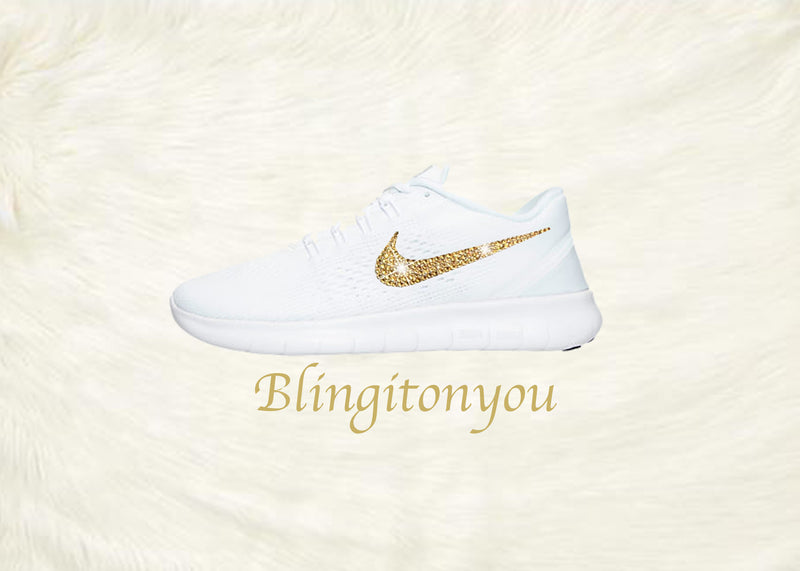 Swarovski Nike Free RN Running Shoes Blinged Out with Gold Swarovski Crystals - Bling Nike Women's Free RN with Gold Swarovski Crystals - Blingitonyou  - 3