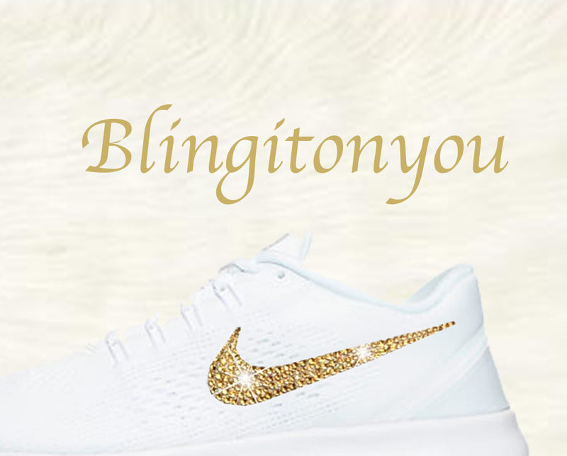 Swarovski Nike Free RN Running Shoes Blinged Out with Gold Swarovski Crystals - Bling Nike Women's Free RN with Gold Swarovski Crystals