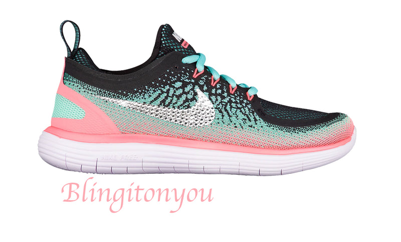 Swarovski Nike Women's Free RN Distance 2 Shoes Custom Blinged with Swarovski Crystal Rhinestones