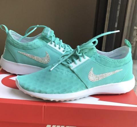US Women's Size 6 Custom Swarovski Blinged Nike Juvenate Shoes Tiffany Blue Inspired - Ready to ship