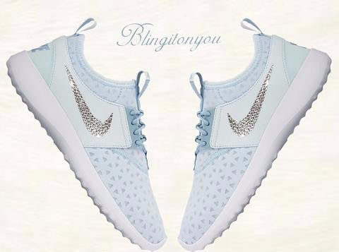US Women's Size 8 Custom Women's Swarovski Blinged Nike Juvenate Glacier Blue/Mica Blue/White - Ready to ship