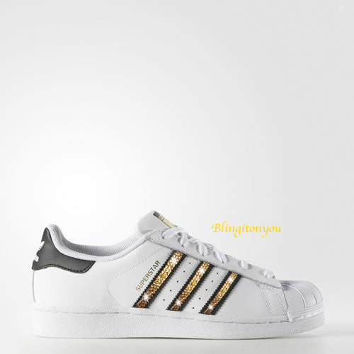 Women's Adidas Original Superstar Shoes with Beautiful Gold Swarovski Crystals - Blingitonyou  - 1