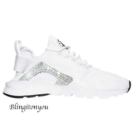 52cfc3fc3037c Swarovski Nike Air Huarache Ultra (White Black) + Hand Customized Swarovski  Crystals (Side) - White