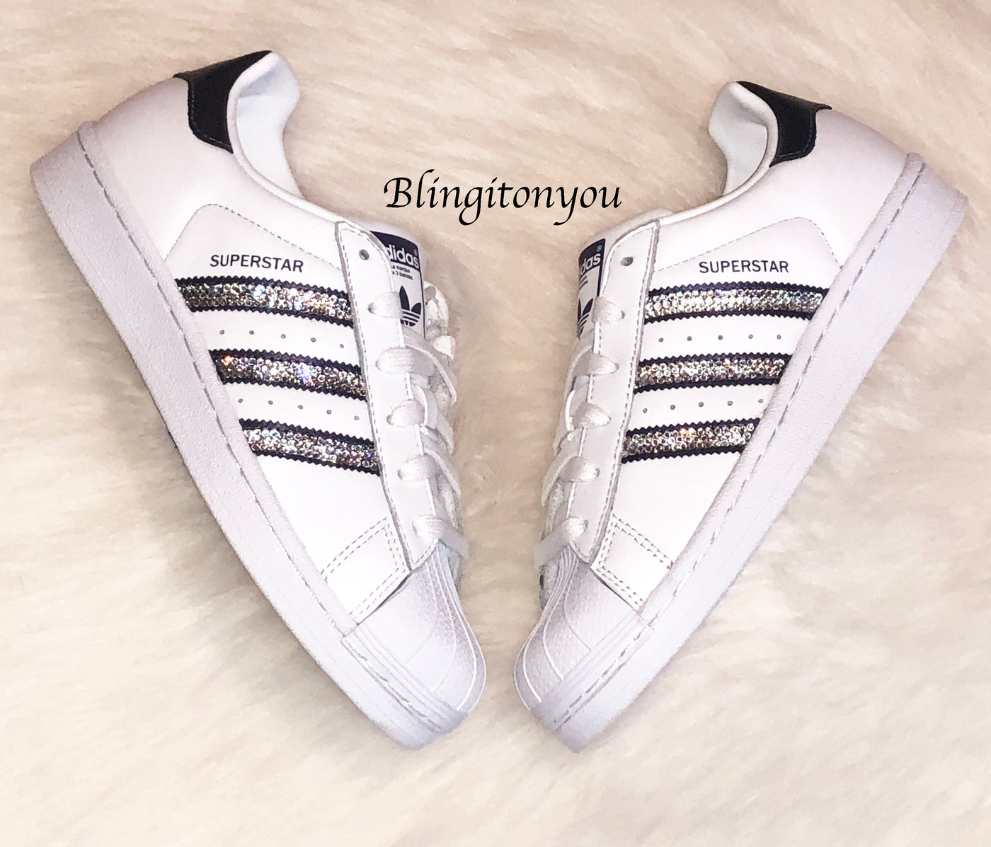 Adidas Superstar Shoes Women's White Black Stripes Customized with Black Swarovski® Crystals Brand New in Box Authentic Adidas Superstar