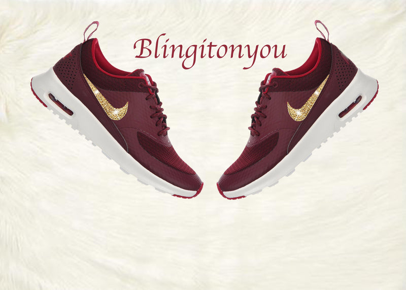Swarovski Nike Air Max Thea Women's Shoes Maroon Blinged Out With Gold Swarovski Crystals - Nike Air Max Thea Swarovski Nike Bling Shoes - Blingitonyou  - 1