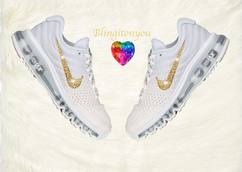 Swarovski Nike Air Max 2017 Women's Running Shoe White with Gold Swarovski Crystals Brand New In Box Blinged Out Nike Women's Shoes - Blingitonyou  - 1