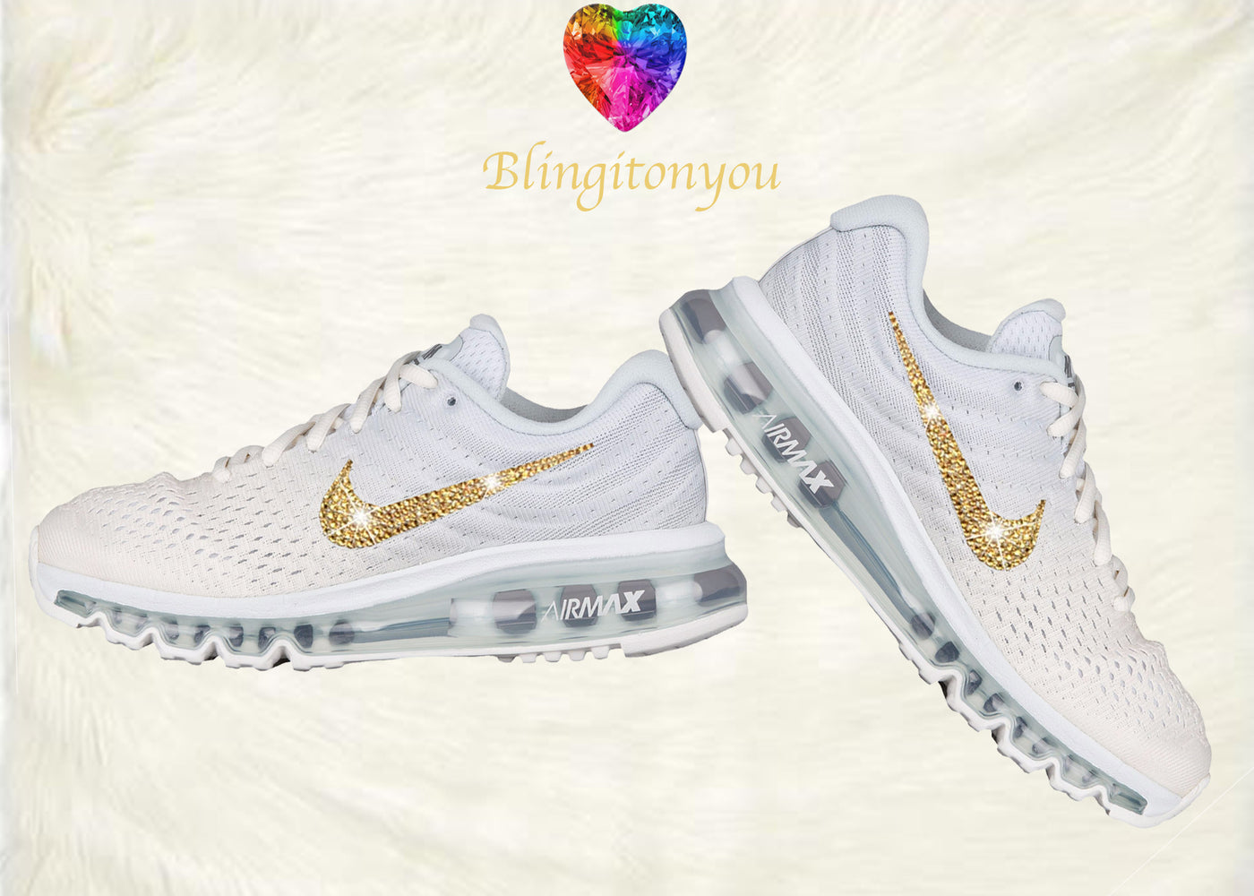more photos dcd6b 2d848 ... closeout swarovski nike air max 2017 womens running shoe white with  gold swarovski crystals brand new