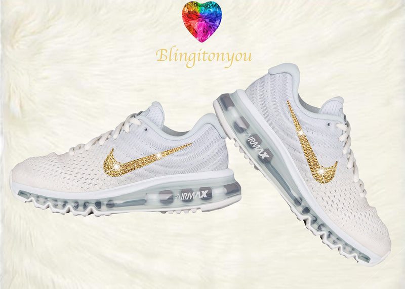 Swarovski Nike Air Max 2017 Women's Running Shoe White with Gold Swarovski Crystals Brand New In Box Blinged Out Nike Women's Shoes - Blingitonyou  - 2