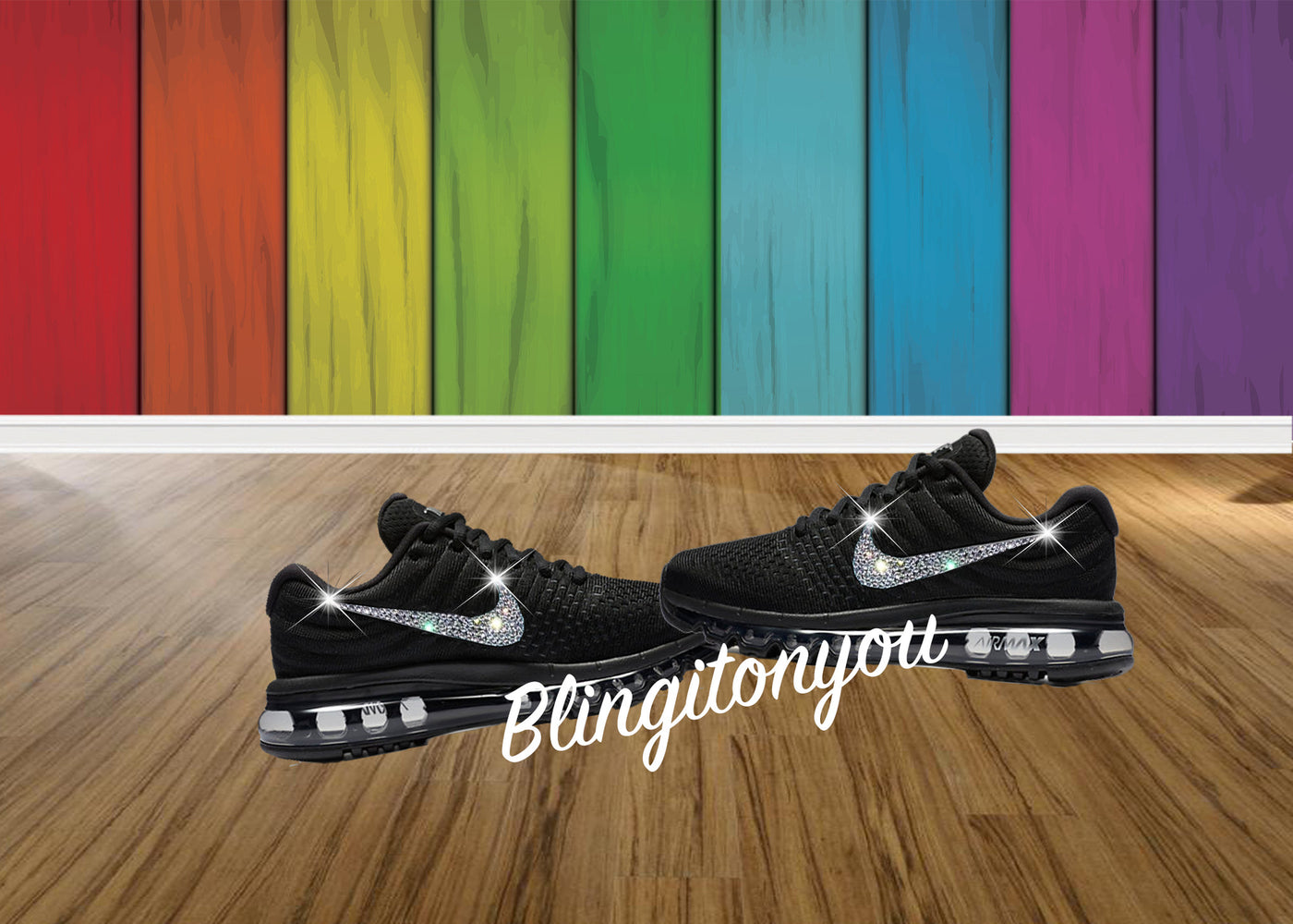 1a9fed7ffaca Blinged Women's Black Nike Air Max 2017 Shoes Bedazzled with Swarovski  Crystals - Blingitonyou - 1 ...