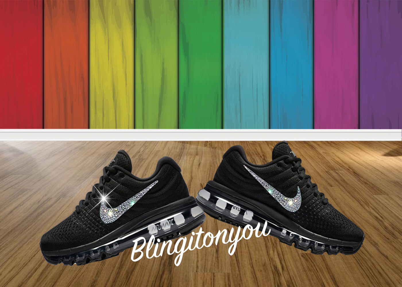 Women's Black Nike Air Max 2017 Shoes Bedazzled with Swarovski