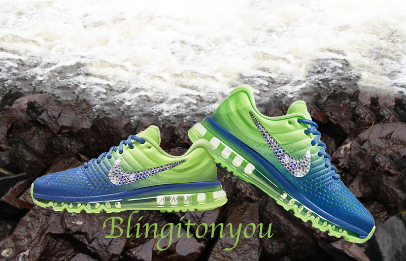 Swarovski Nike Air Max 2017 Green and Blue Shoes Blinged Out With Swarovski Crystals - Bling Nike Women's Shoes - Blingitonyou  - 1
