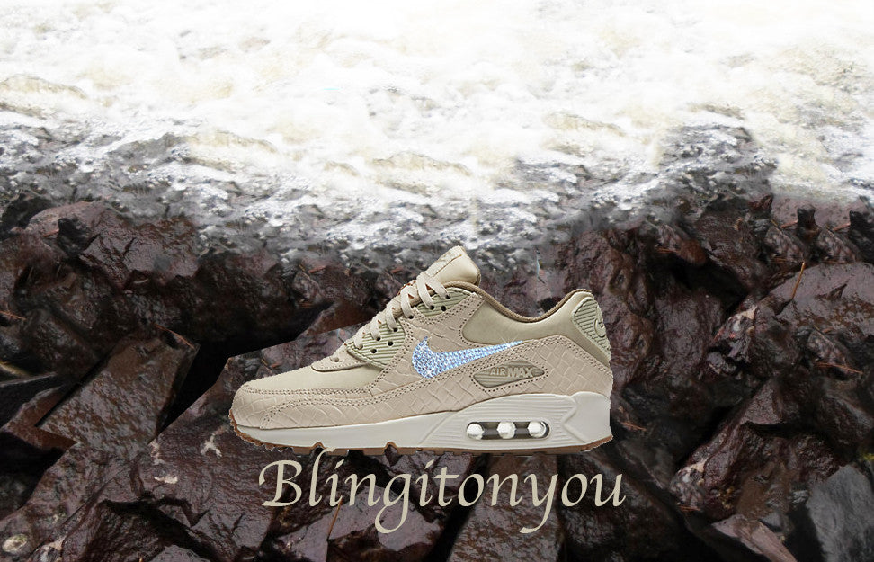 Sale! Nude Swarovski Nike Women's Air Max 90 Premium Running Shoes Blinged out with Swarovski Crystals