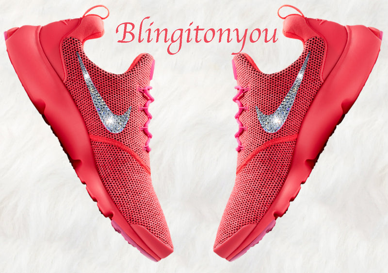 Swarovski Nike Presto Fly Women's Shoes Red Blinged Out With Swarovski Crystals - Swarovski Nike Shoes - Nike Bling Shoes