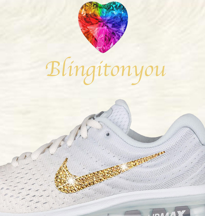 Swarovski Nike Air Max 2017 Women's Running Shoe White with Gold Swarovski Crystals Brand New In Box Blinged Out Nike Women's Shoes - Blingitonyou  - 3