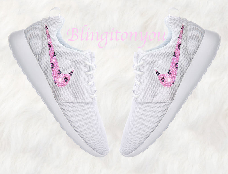 Swarovski Nike Roshe One Women's Shoes White Blinged Out With Leopard Pink Swarovski - Swarovski Nike Shoes - Nike Bling Shoes