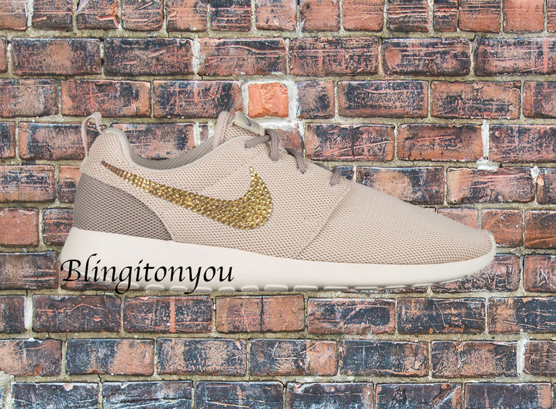 Swarovski Nike Women's Roshe One Shoes (Light Orewood Brown) Custom Blinged with Gold Swarovski Crystals