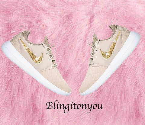 US Women's Size 7 Custom Gold Swarovski Blinged Nike Roshe Two SE Shoes - Ready to ship