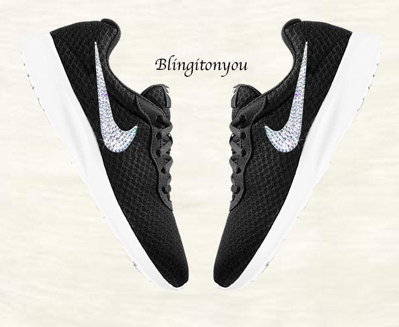 Blinged Women's Nike Tanjun Black Shoes Customized with Clear Swarovski Crystals