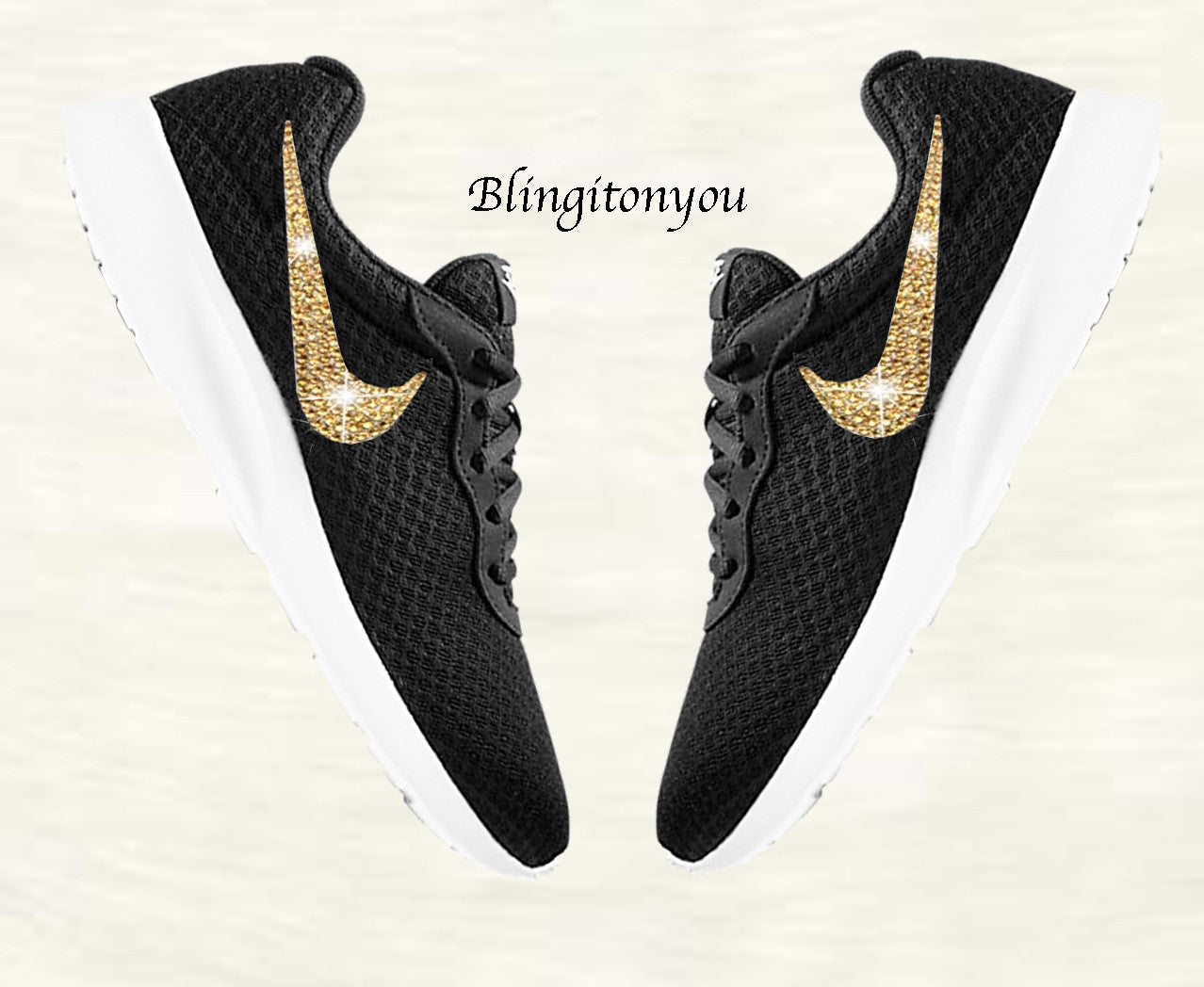 ddae53281c01 ... coupon blinged womens nike tanjun black shoes customized with gold  swarovski crystals 97187 43eee