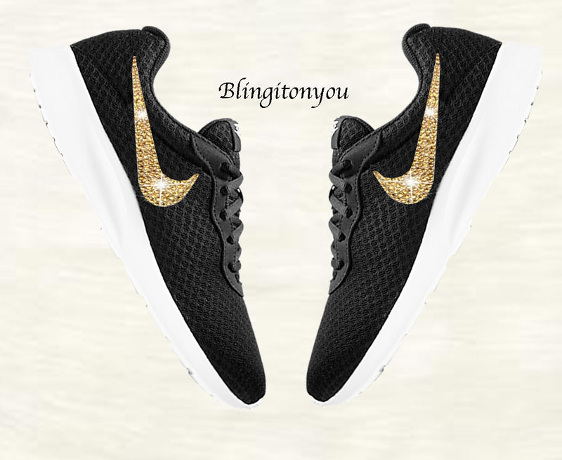 Blinged Women's Nike Tanjun Black Shoes Customized with Gold Swarovski Crystals