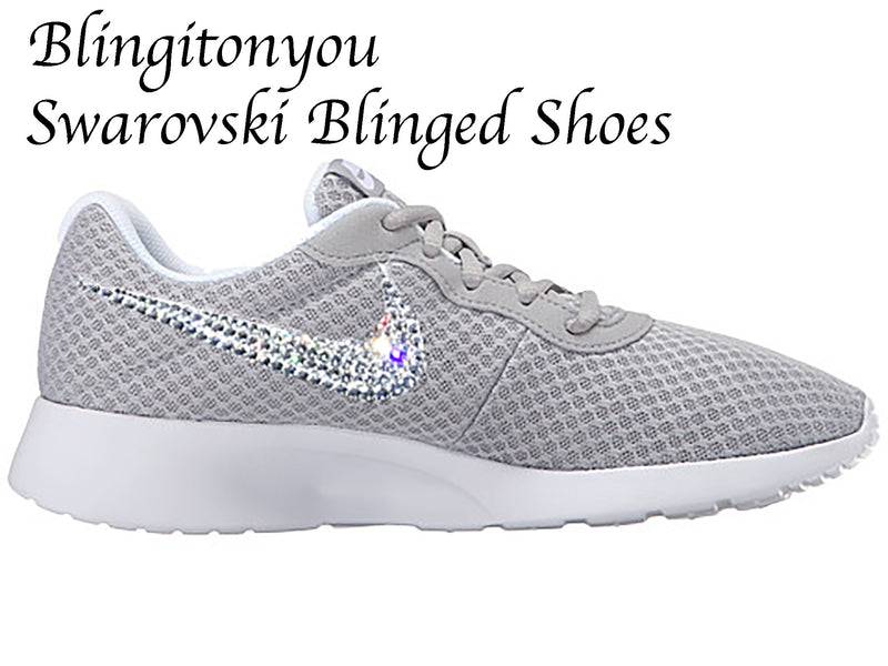 Swarovski Nike Women's Tanjun (Wolf Grey / White) Custom Blinged with Swarovski Crystal Rhinestones