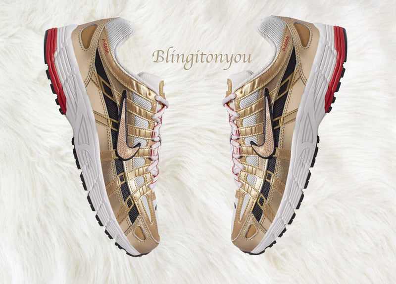 Swarovski Nike P-6000 Gold Color Shoes Customized Blinged Gold Swarovski Crystal Rhinestones! New in Box! Swarovski Nike Crystals