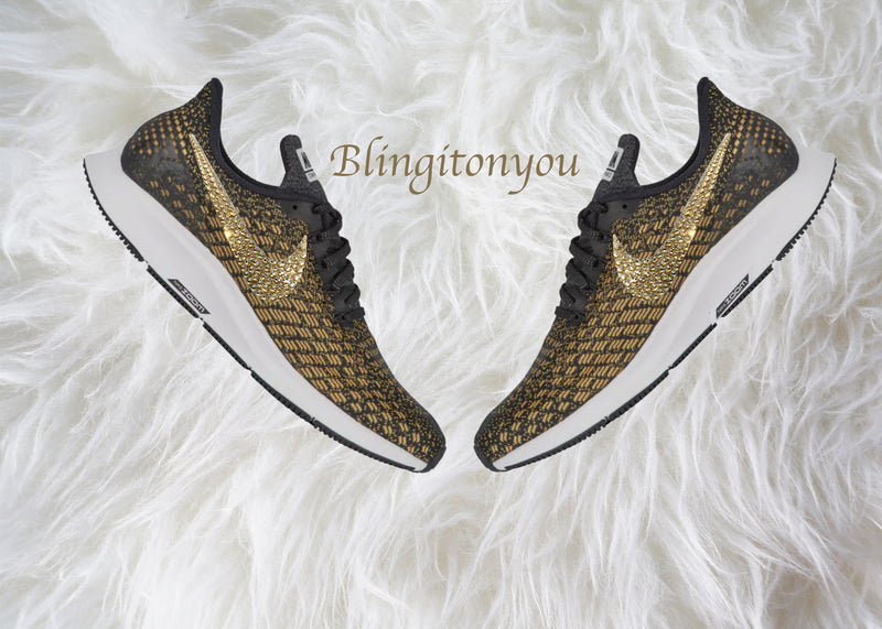 Swarovski Nike Air Zoom Pegasus 35 Women's Shoes Black Blinged Out With Gold Swarovski Crystals - Nike Air Max Swarovski Nike Bling Shoes