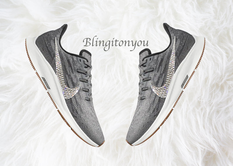 Swarovski Nike Air Zoom Pegasus 36 Grey and Black Shoes Customized With Clear Swarovski Crystal Rhinestones | Nike Bling Shoes | Swarovski Nike | Bedazzled