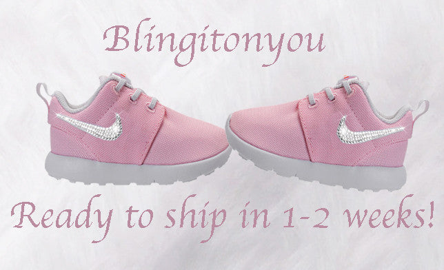 Custom Nike Toddler Roshe One Shoes Prism Pink Blinged with Swarovski Crystal Rhinestones