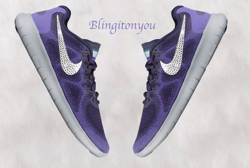 Swarovski Nike Women's Free RN Purple Shoes 2017 - Hand Customized with Swarovski Crystals - Crystallized Swoosh Swarovski Nike Bling Shoes