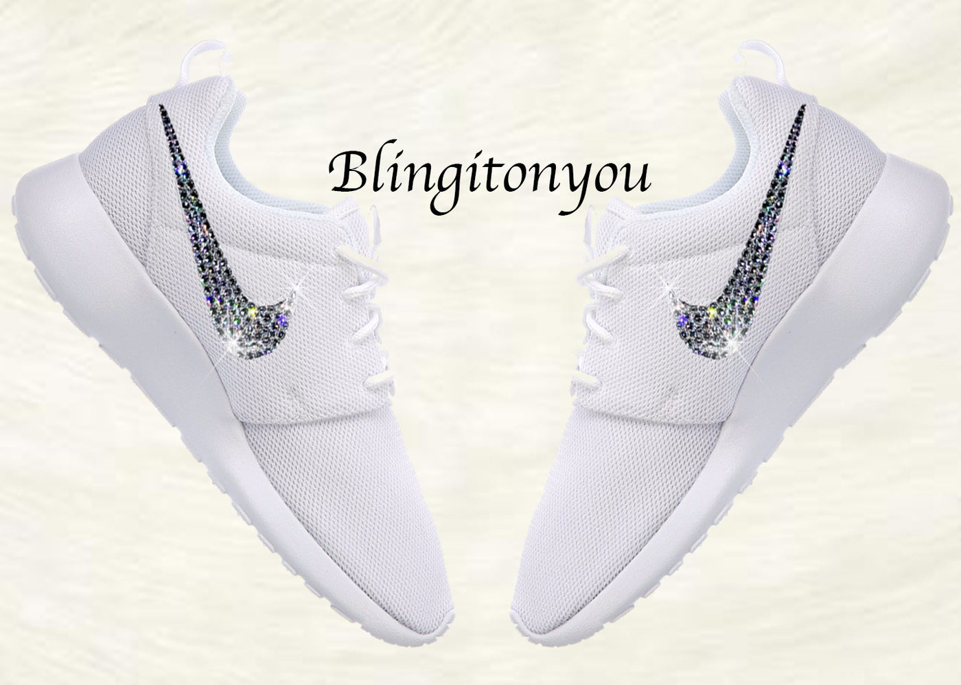 54ae8e695e3e Swarovski Nike Shoes Women s Nike Roshe One White Customized with Swarovski®  Xirius-Rose Cut ...