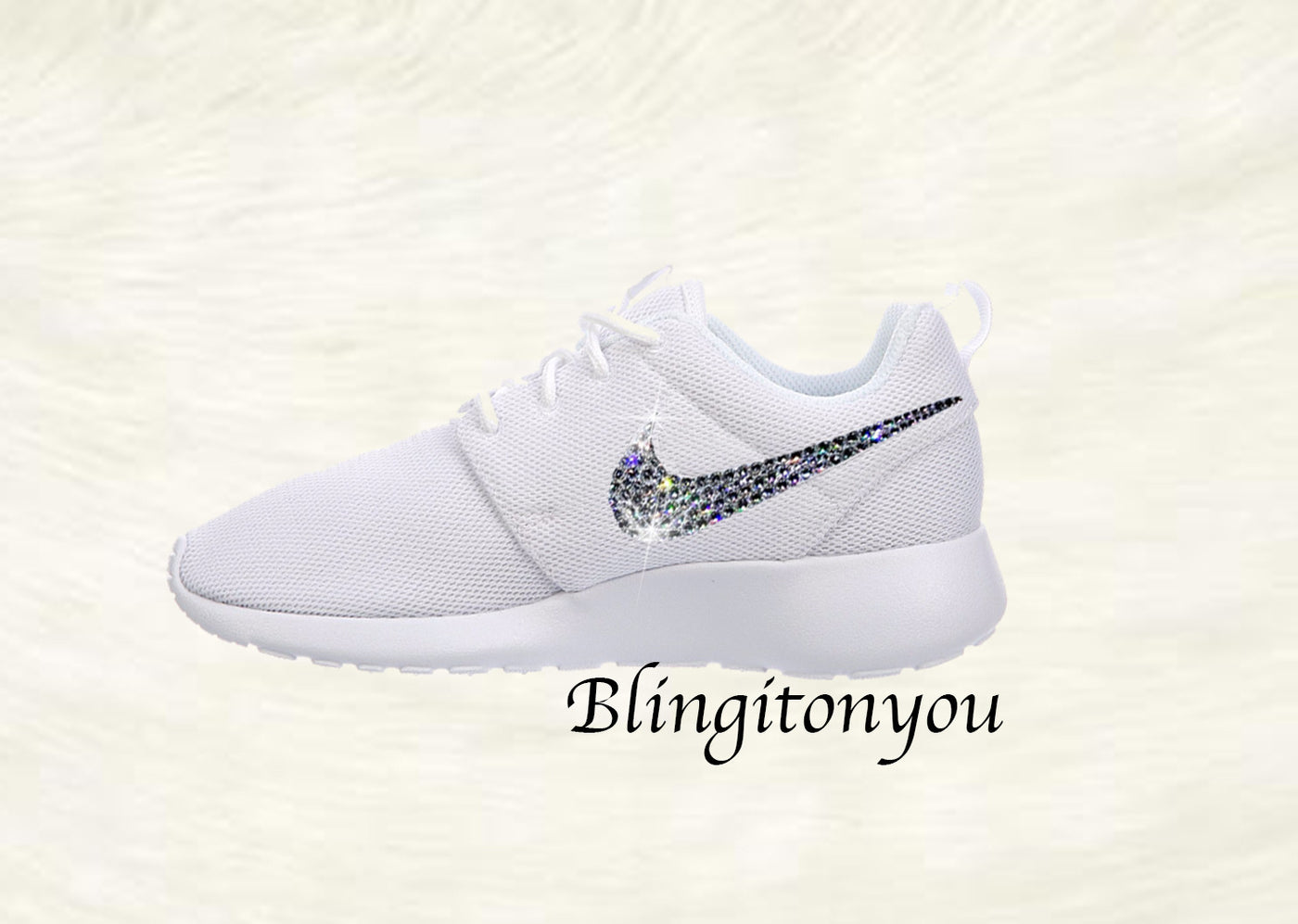 820a44871cd7 ... Swarovski Nike Shoes Women s Nike Roshe One White Customized with  Swarovski® Xirius-Rose Cut ...
