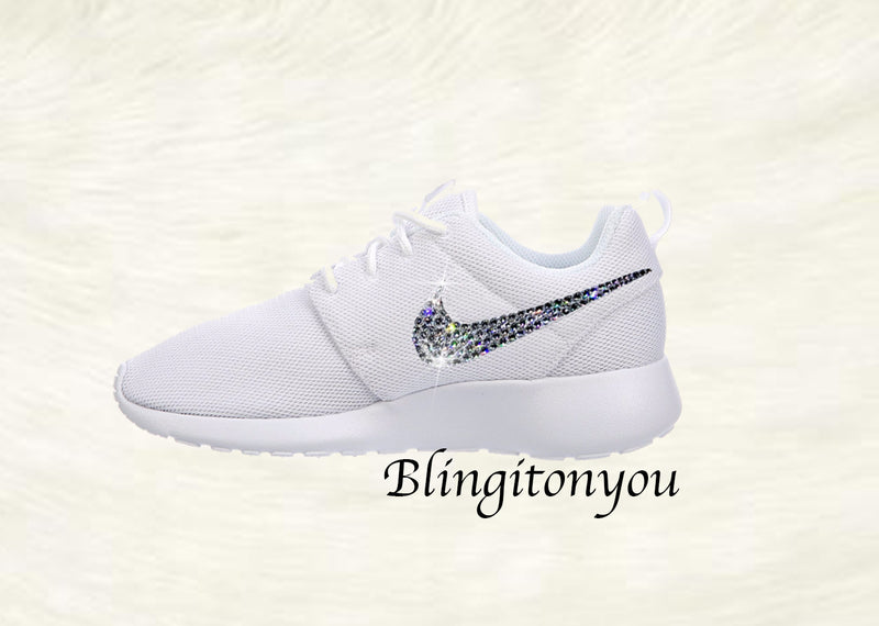 Swarovski Nike Shoes Women's Nike Roshe One White Customized with Swarovski® Xirius-Rose Cut Crystal Rhinestones Authentic New In Box Shoes - Blingitonyou  - 2