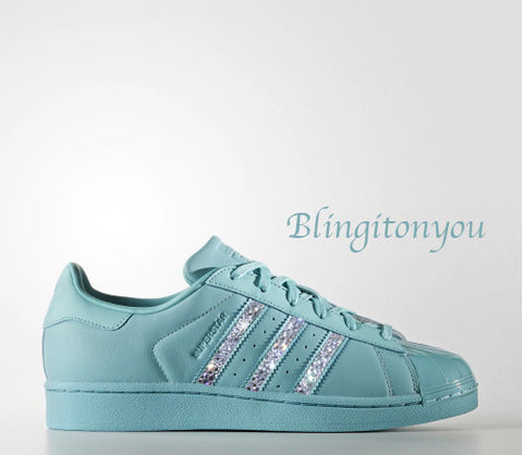 Women's Adidas Original Superstar Blue Shoes with Beautiful Clear Swarovski Crystals! Gorgeous Adidas Hand Customized Shoes - Blingitonyou  - 1
