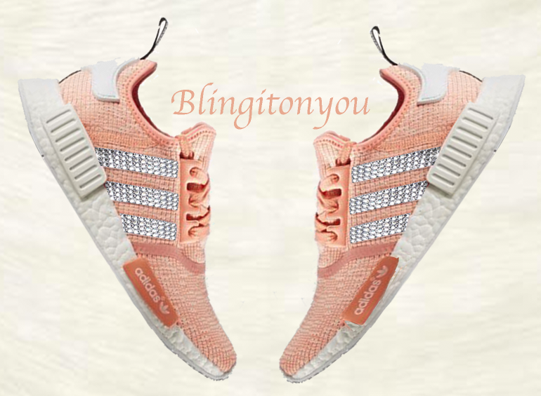 New Swarovski Blinged Adidas NMD R1 Runner Casual Shoes Custom Blinged with Clear Swarovski Crystal Rhinestones