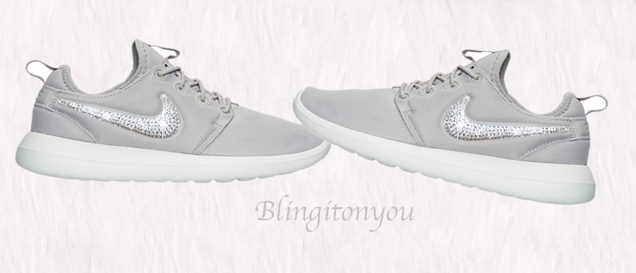 SALE Swarovski Nike Women s Roshe Two Shoes Customized with Clear Swar –  Blingitonyou e75bbd8e9e81