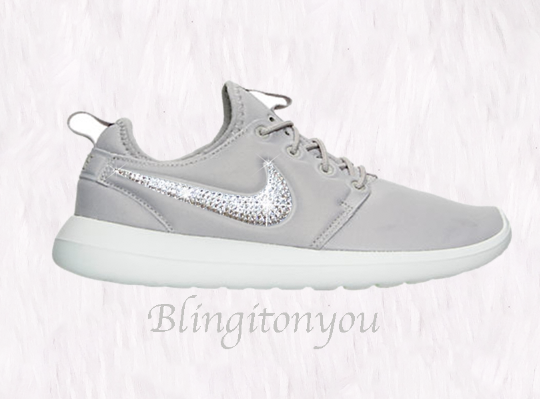 14bb0668ebda SALE Swarovski Nike Women s Roshe Two Shoes Customized with Clear Swarovski  Crystals Bling Nike Shoes