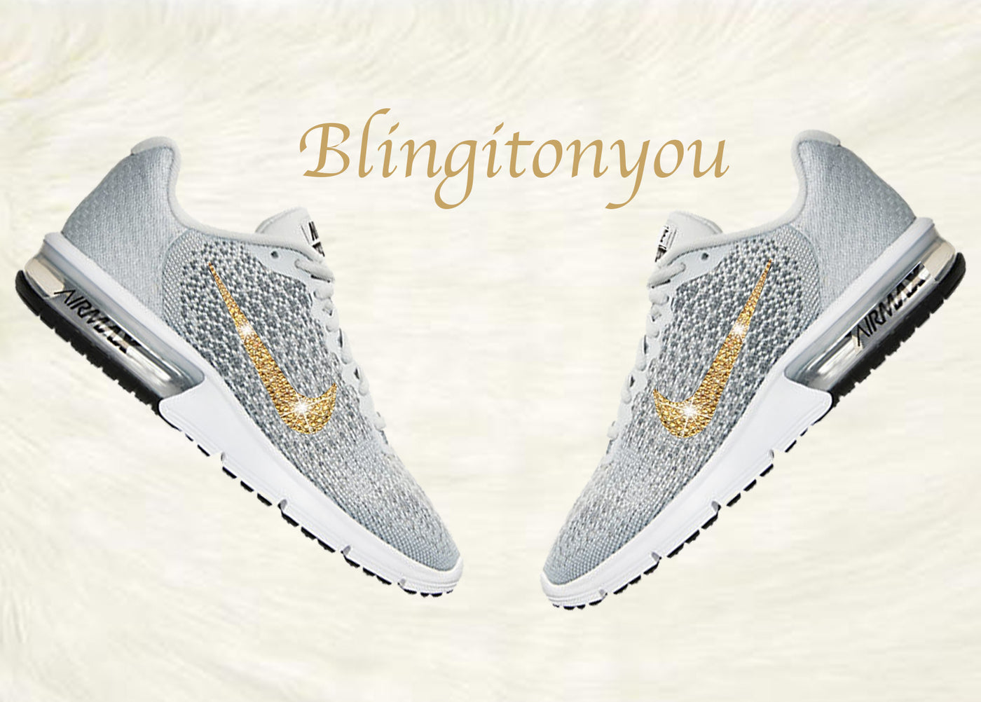 Swarovski Nike Air Max Sequent 2 Shoes Grey Blinged Out With Gold Swarovski Crystals Nike Air Max Swarovski Nike Shoes
