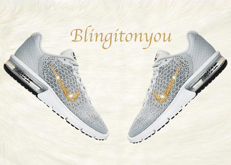 Swarovski Nike Air Max Sequent 2 Shoes Grey Blinged Out With Gold Swarovski Crystals - Nike Air Max Swarovski Nike Shoes - Blingitonyou  - 1