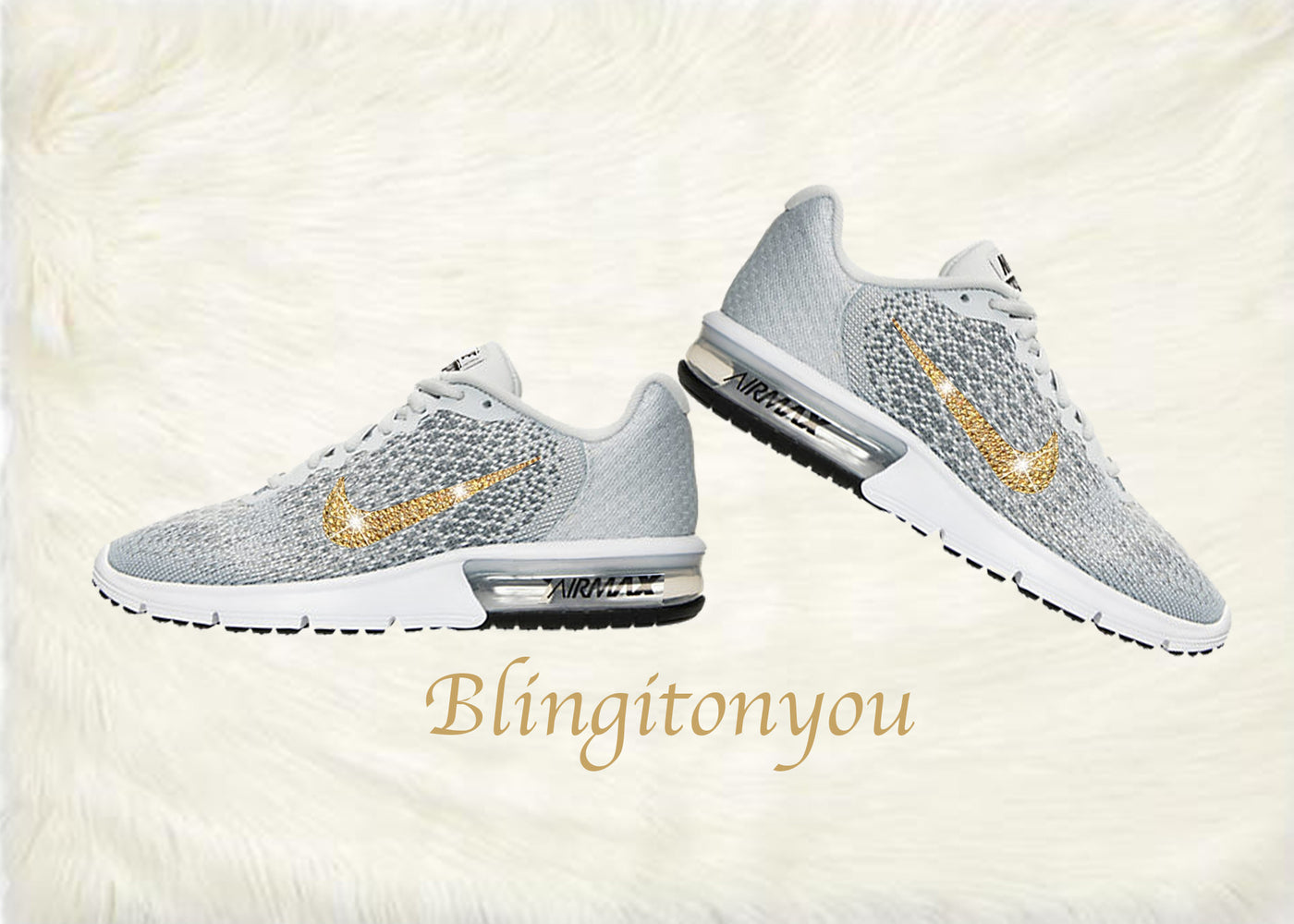 8eebdd229b73 ... Swarovski Nike Air Max Sequent 2 Shoes Grey Blinged Out With Gold  Swarovski Crystals - Nike ...