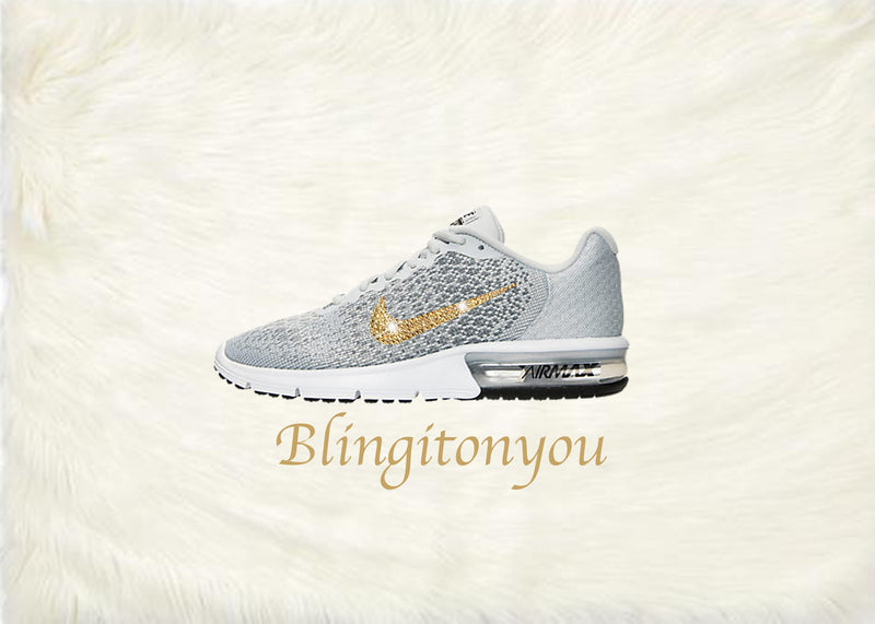 Swarovski Nike Air Max Sequent 2 Shoes Grey Blinged Out With Gold Swarovski Crystals - Nike Air Max Swarovski Nike Shoes - Blingitonyou  - 3