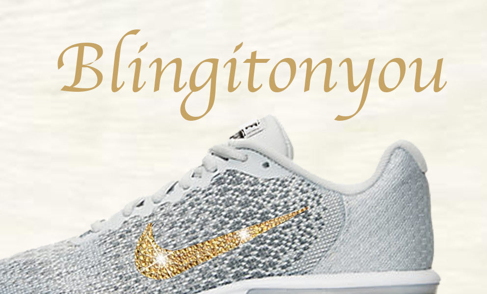 ... Swarovski Nike Air Max Sequent 2 Shoes Grey Blinged Out With Gold  Swarovski Crystals - Nike ...