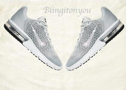 US Women's Size 10 Custom Swarovski Blinged Nike Sequent Shoes - Ready to ship