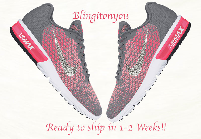Swarovski Nike Bling Shoes | Nike Air Max Sequent 2 Shoes Blinged / Bedazzled with Clear Swarovski Crystals! Blinged out Nike Women's Shoes!