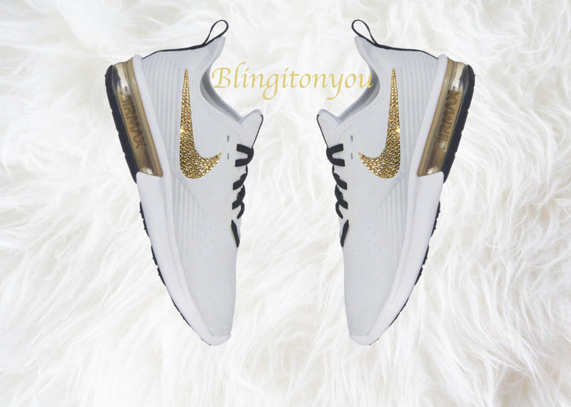 Swarovski Nike Air Max Sequent 4 Women's Shoes Blinged Out With Gold Swarovski Crystals -Nike Air Max Swarovski Nike Shoes Nike Bling Shoes