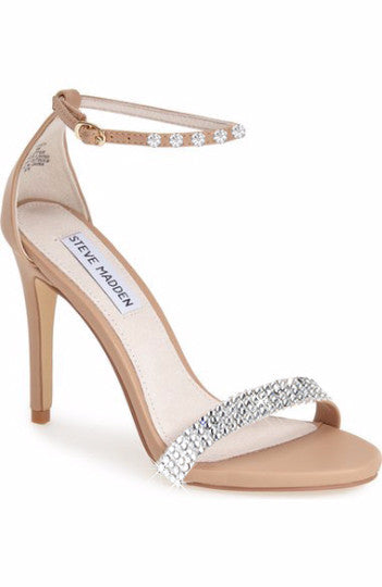 "New Women's Steve Madden ""Stecy"" Sandal Heels Blinged / Customized with Clear / Original Swarovski Crystal Flatbacks - Preorder"