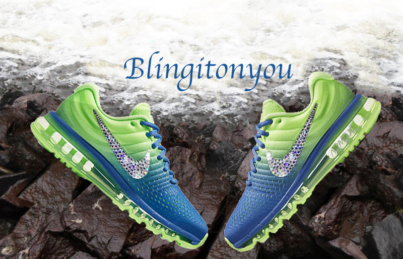 Swarovski Nike Air Max 2017 Green and Blue Shoes Blinged Out With Swarovski Crystals - Bling Nike Women's Shoes - Blingitonyou  - 2