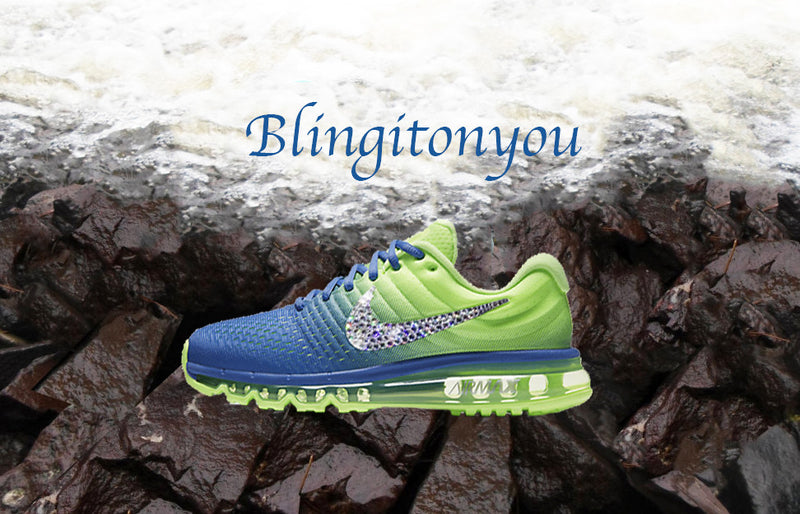 Swarovski Nike Air Max 2017 Green and Blue Shoes Blinged Out With Swarovski Crystals - Bling Nike Women's Shoes - Blingitonyou  - 3